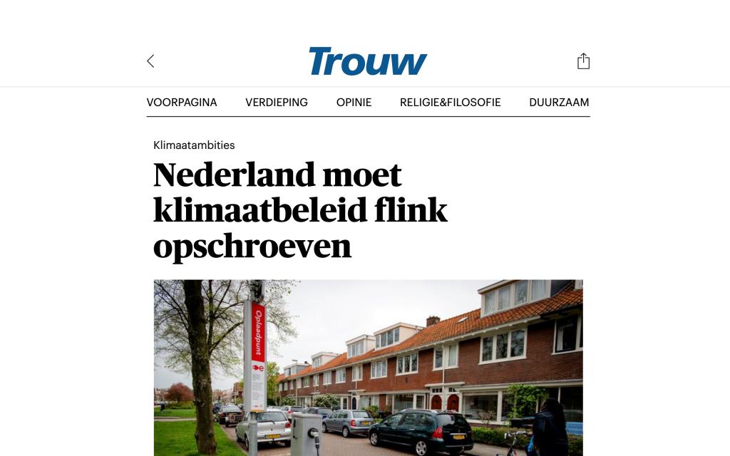 210421 Trouw - Nederland moet klimaatbeleid flink opschroeven (1)